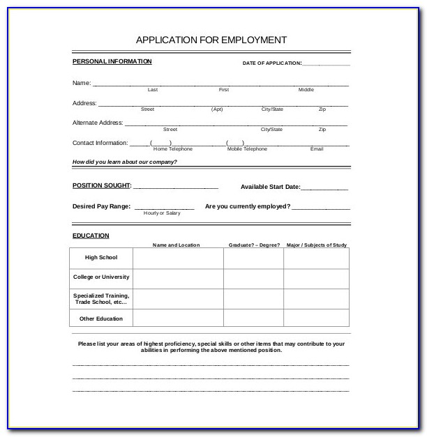 Free Job Application Form Template Word