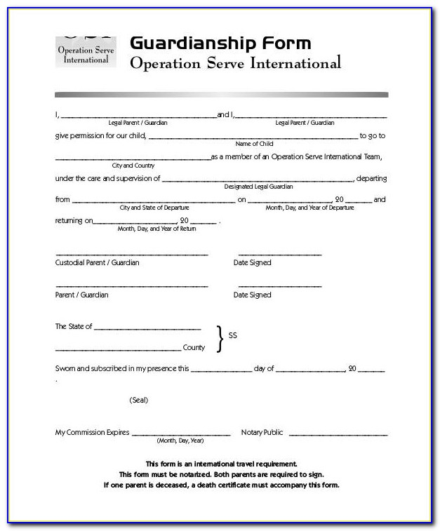 Free Legal Guardianship Forms For A Child