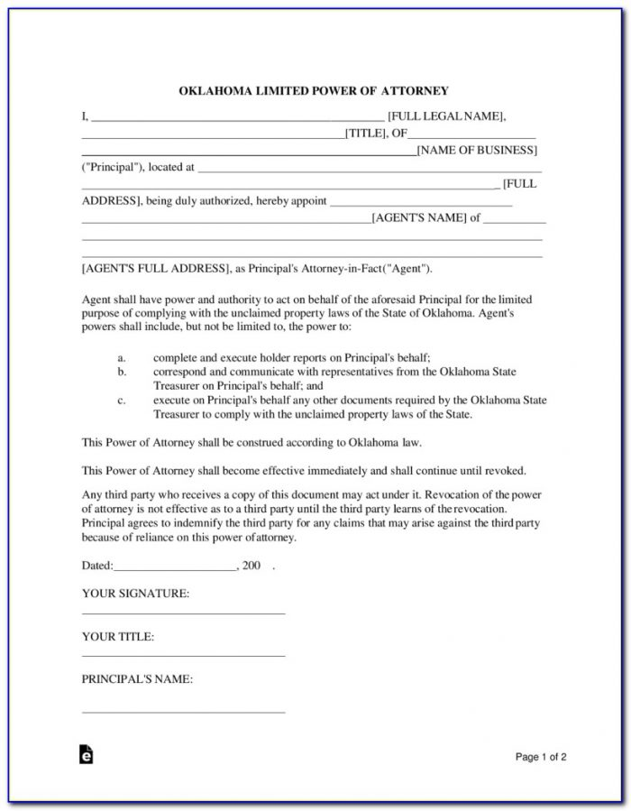 Free Limited Power Of Attorney Form Pa