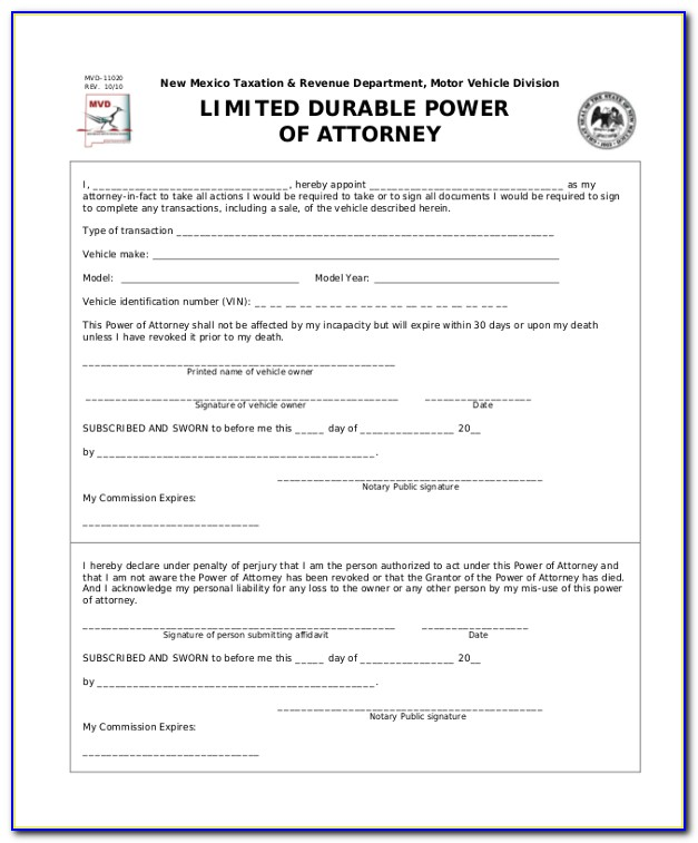 Free Limited Power Of Attorney Form Texas