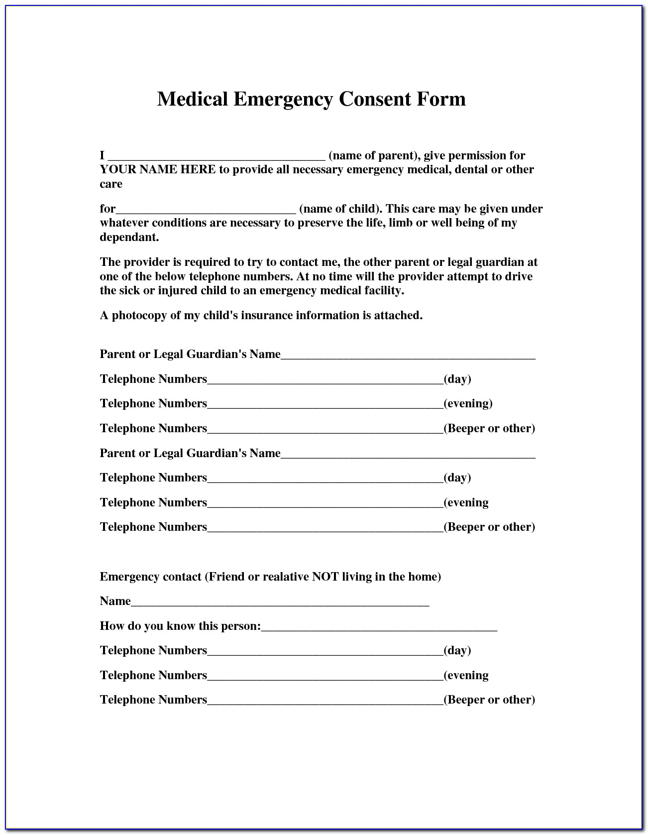 Free Medical Consent Form For Grandparents