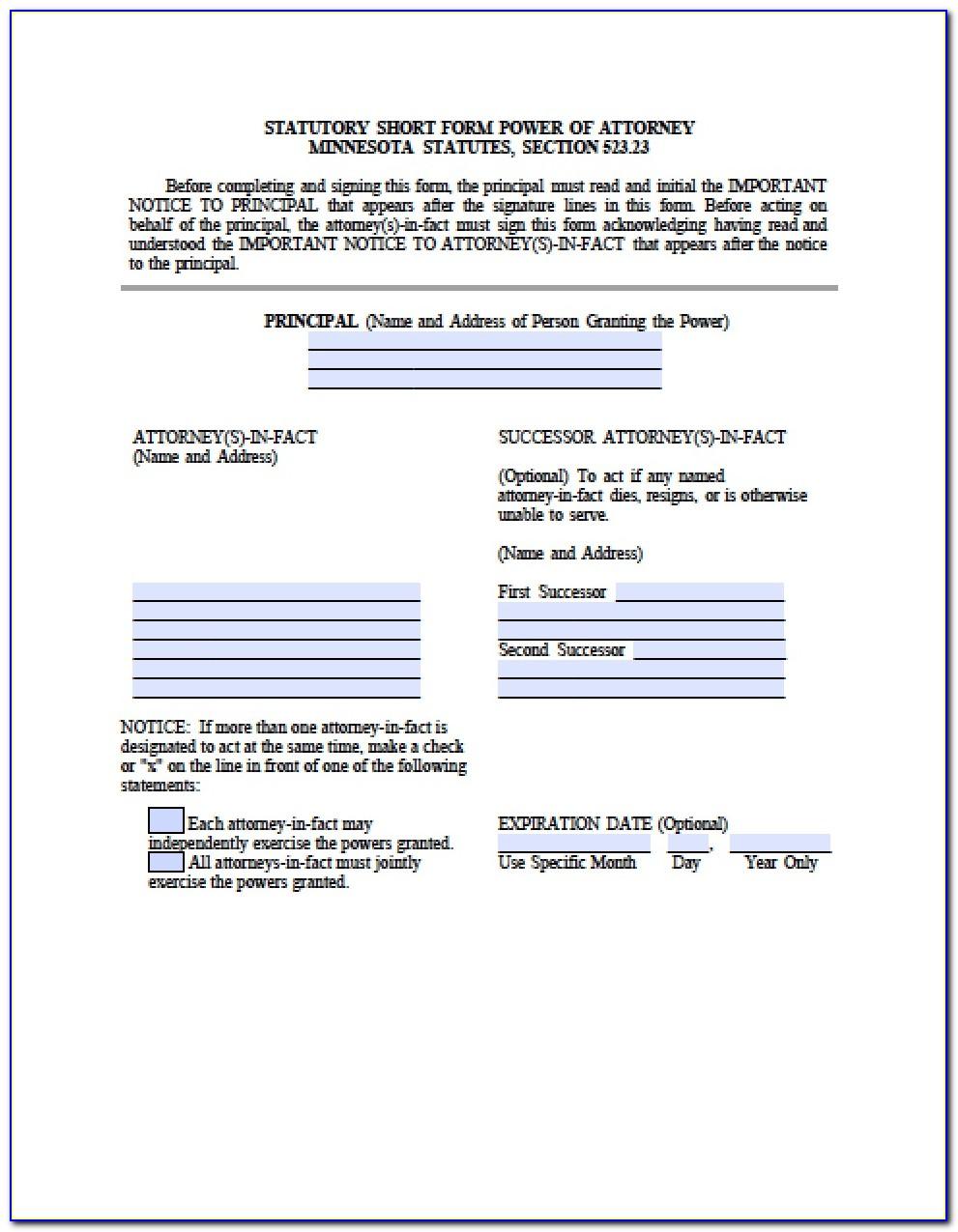 Free Medical Power Of Attorney Form Minnesota