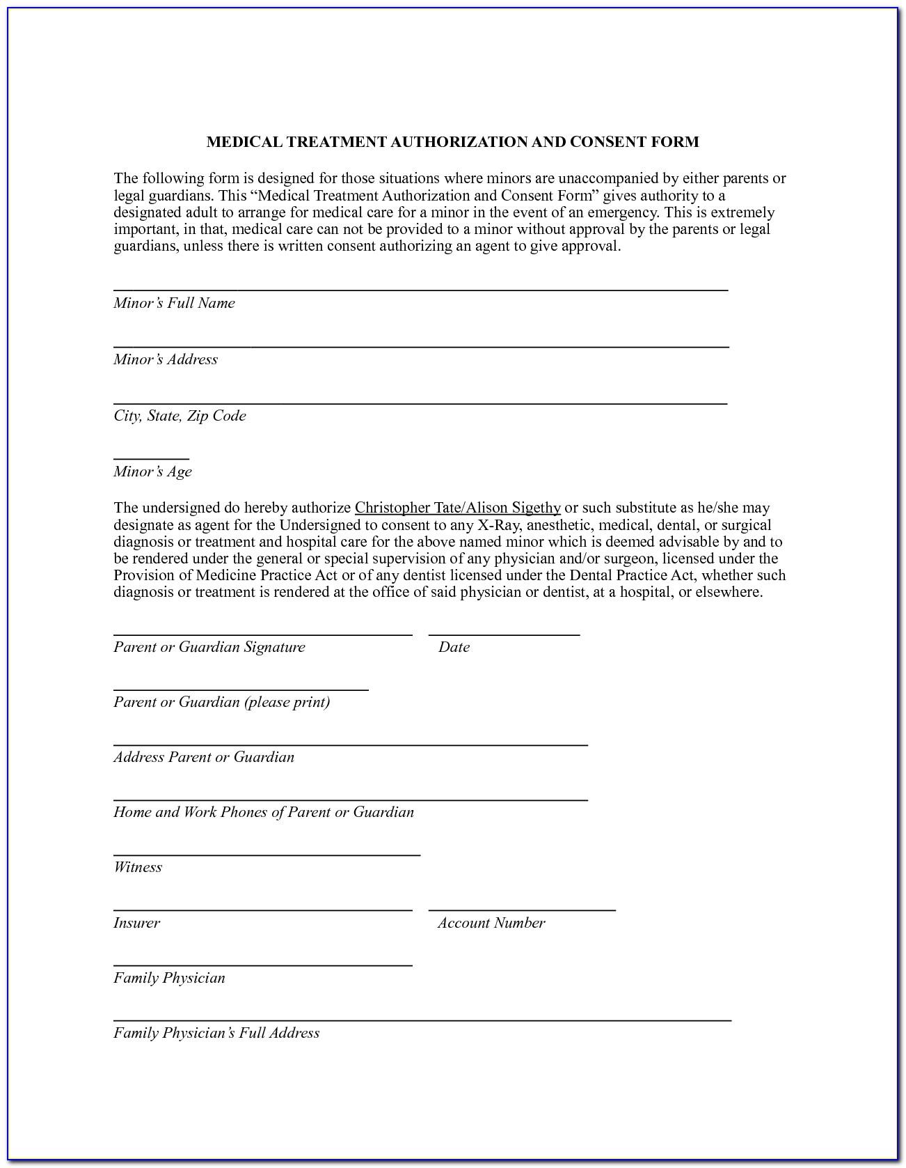 Free Medical Treatment Authorization Form