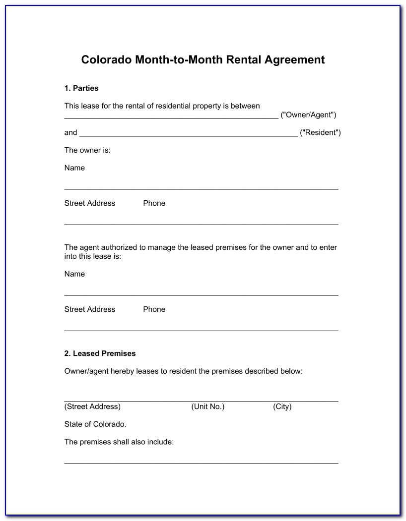 Free Month To Month Lease Agreement Form