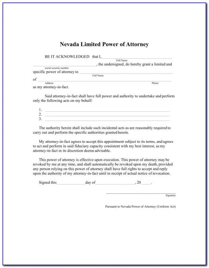 Free Nevada Limited Power Of Attorney Form