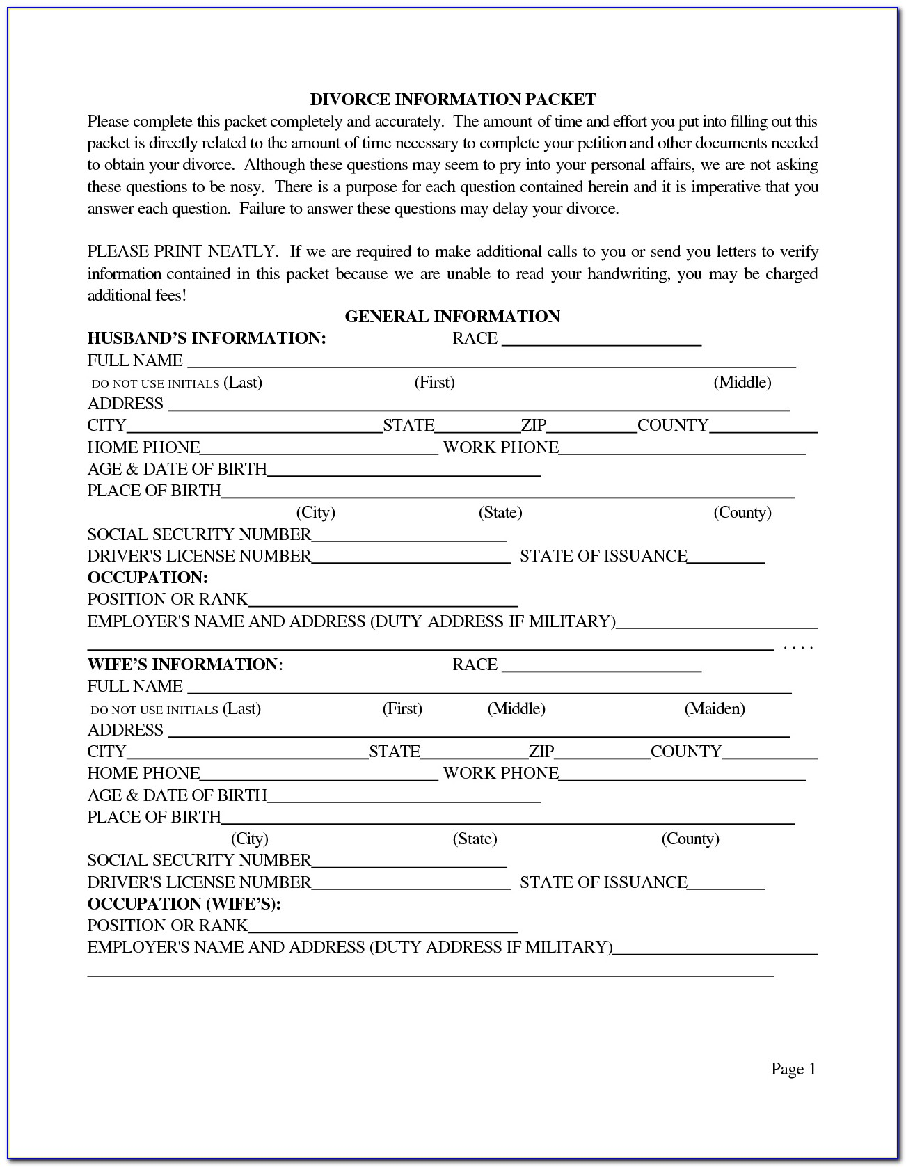 Free Online Printable Divorce Forms