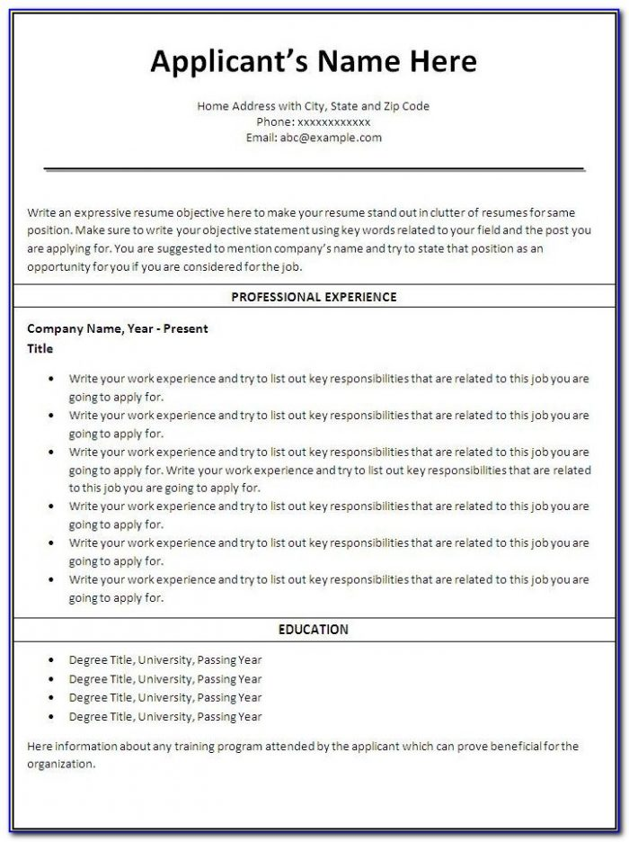 Free Online Printable Resume Forms
