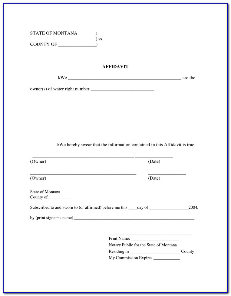 Free Printable Affidavit Statement Form