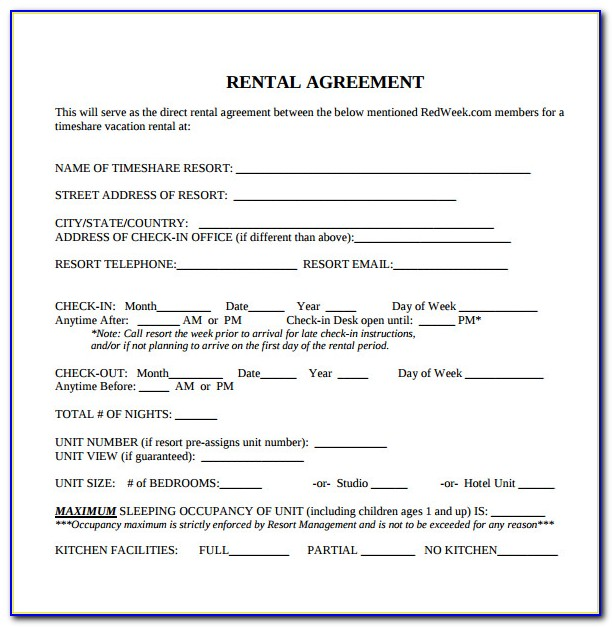 Free Printable Blank Rental Agreement Forms
