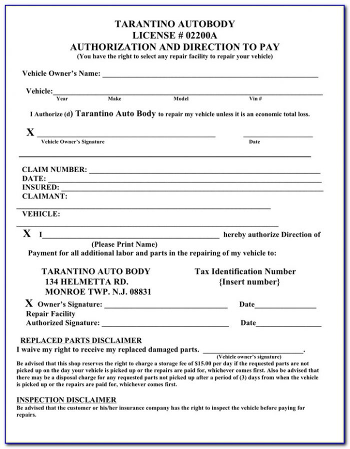 Free Printable Direction To Pay Form