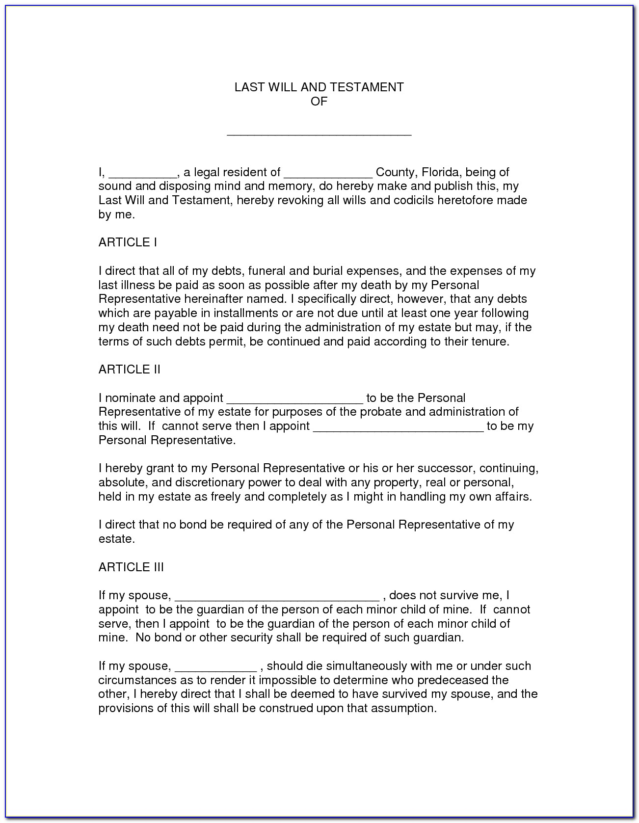 25 Images Of Florida Last Will Document Template | Crazybiker Pertaining To Last Will And Testament Template Florida