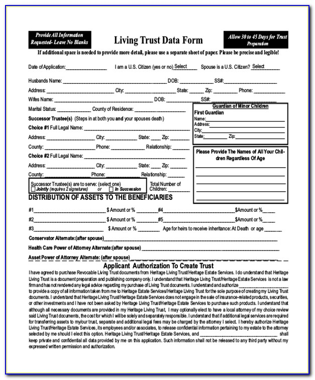 Free Printable Living Trust Forms