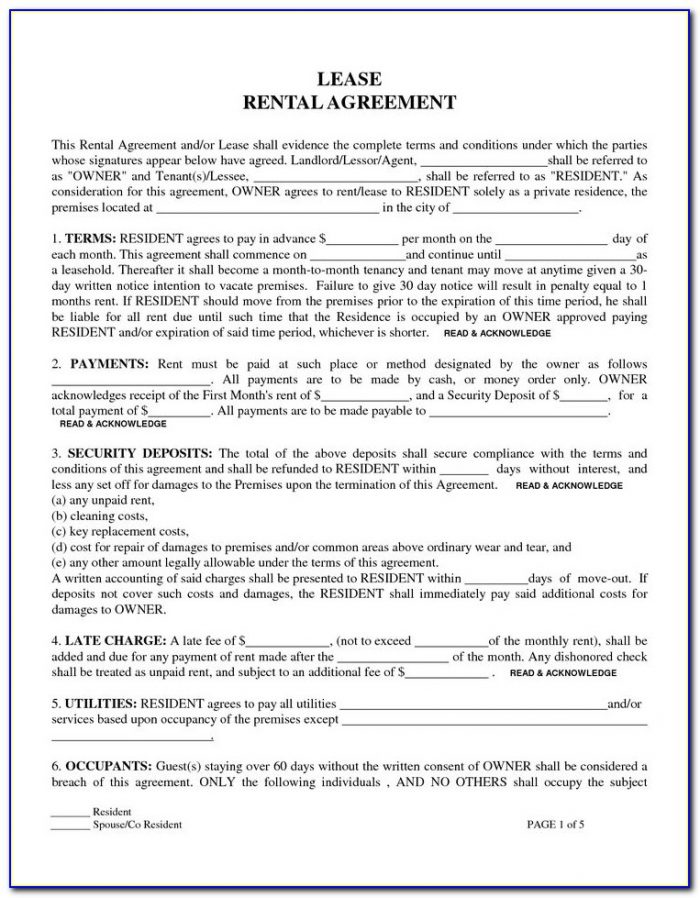 Free Printable Rental Lease Forms