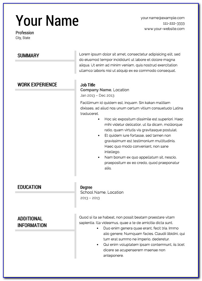 Free Printable Resume Templates Blank