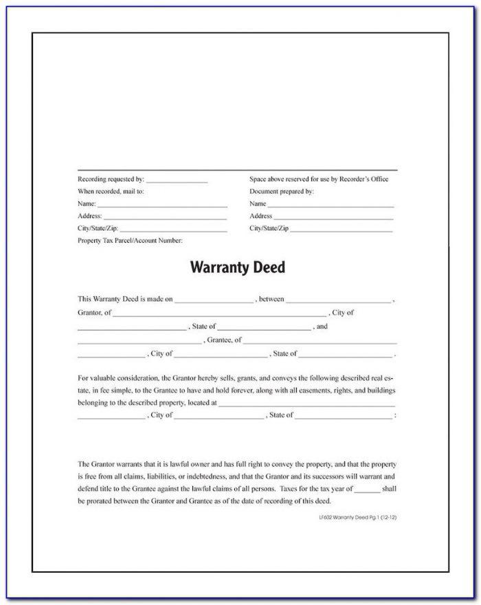 Free Printable Warranty Deed Template