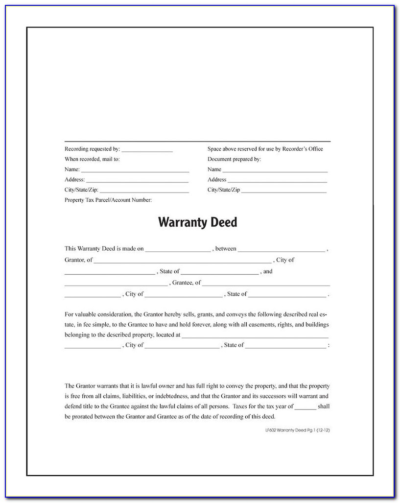 Free Printable Warranty Deed Template