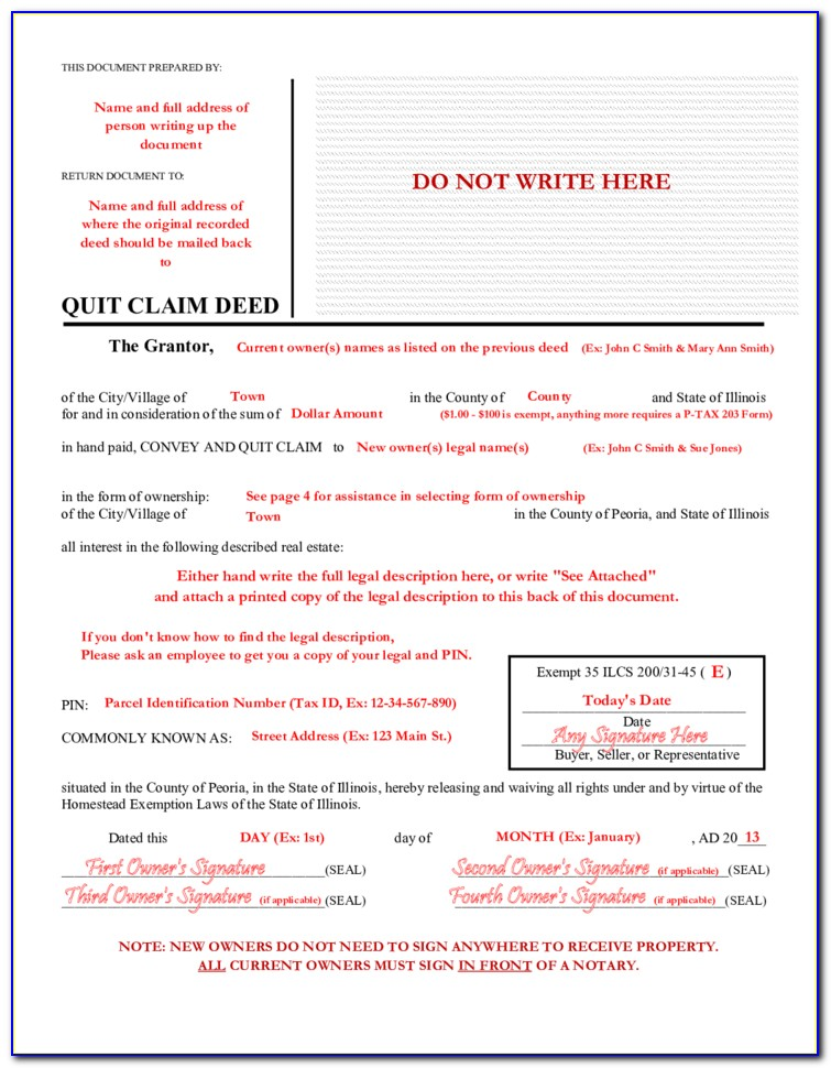 Free Quit Claim Deed Form Illinois Cook County