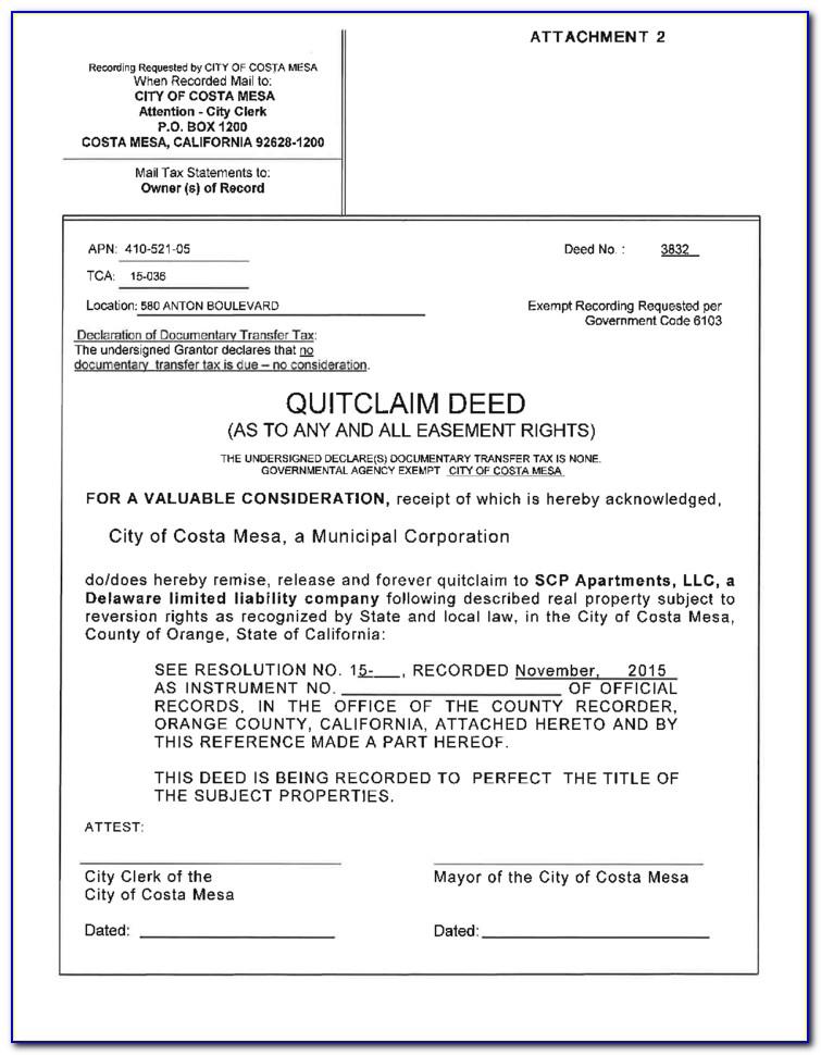 Free Quit Claim Deed Form Orange County California