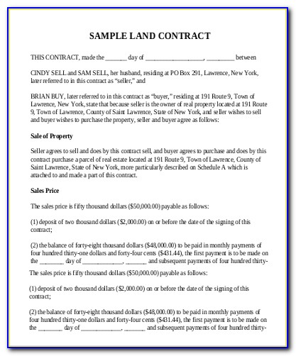 Free Real Estate Land Contract Form