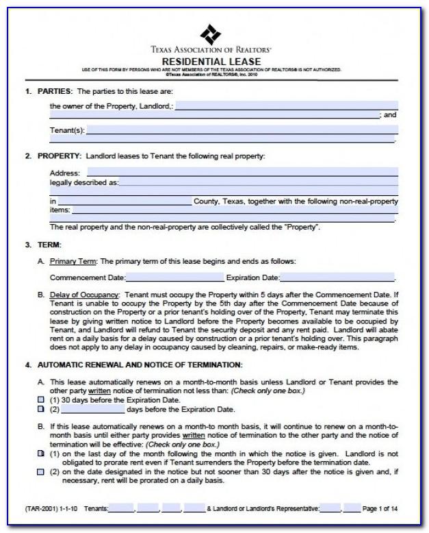 Free Rental Agreement Form Texas