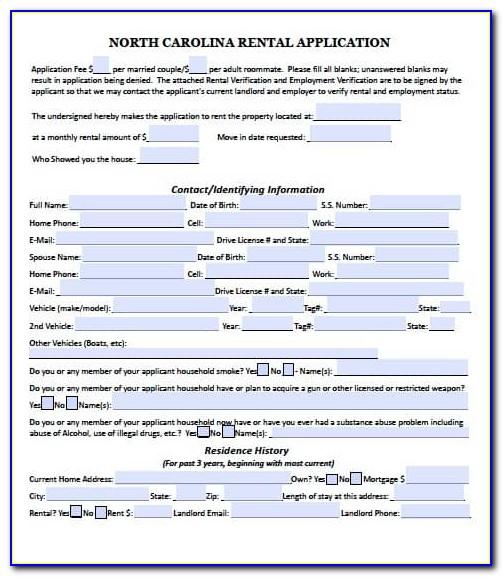 Free Rental Application Form Nc
