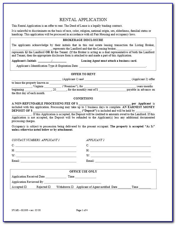 Free Rental Application Form Va