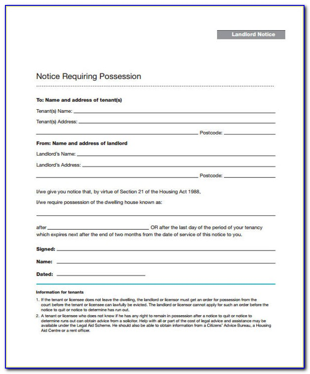 Free Renters Eviction Notice Form