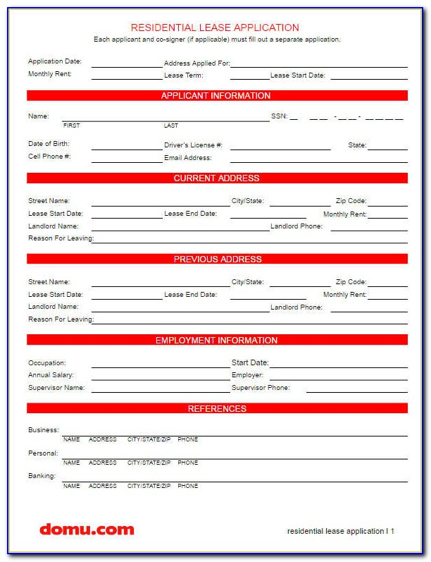 Free Residential Lease Agreement Form To Print