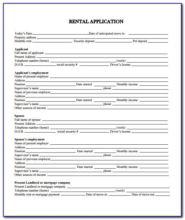 Free Residential Rental Application Form Pdf