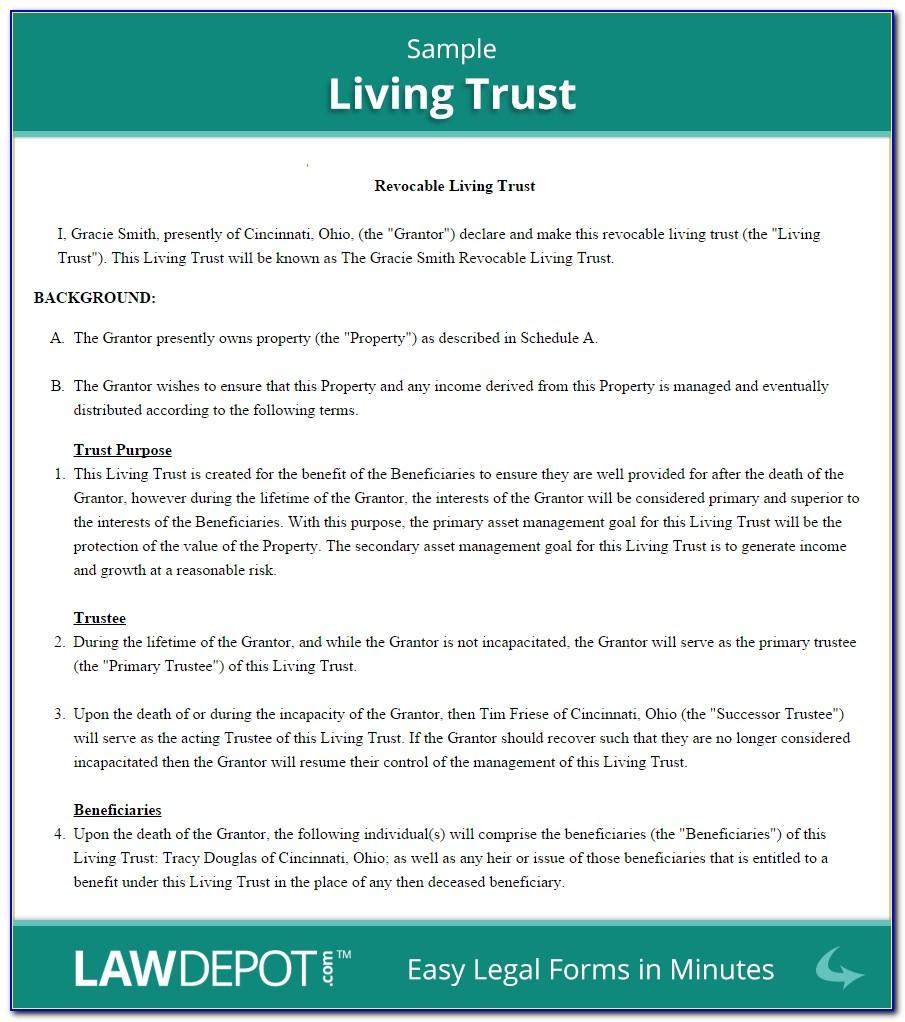 Free Revocable Living Trust Form Massachusetts