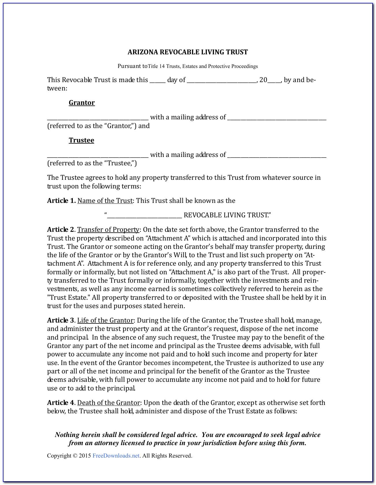 Free Revocable Living Trust Form Minnesota