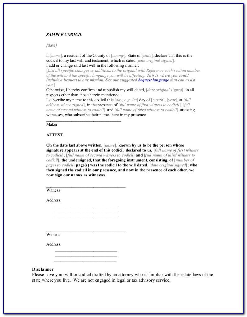 Free Sample Codicil Form