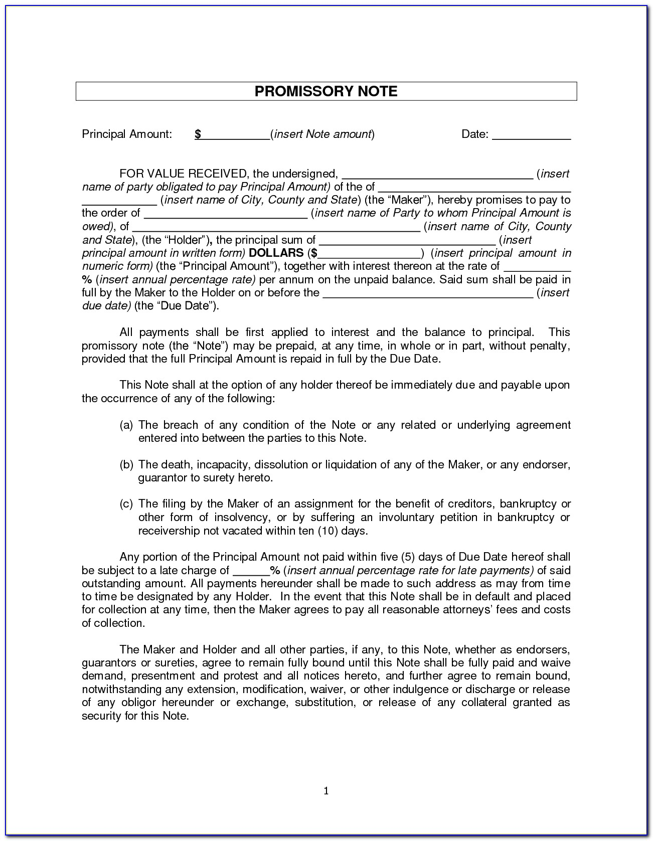 Example Promissory Note Form Template Shopgrat