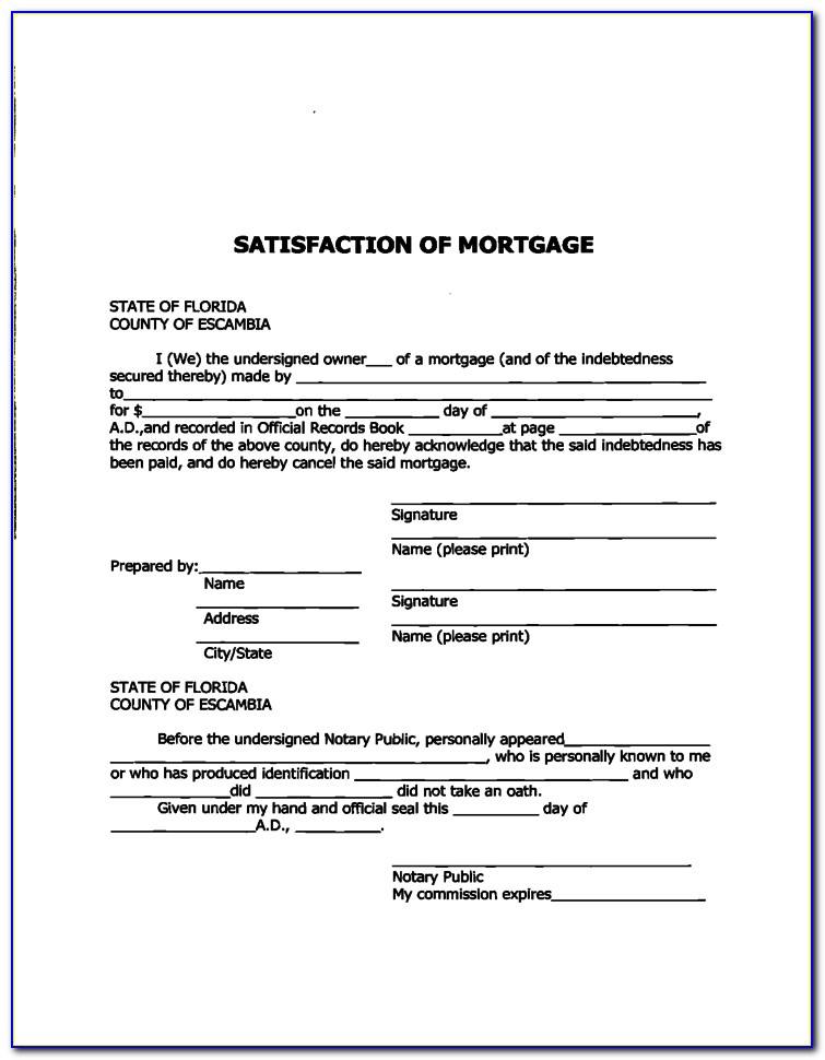 Free Satisfaction Of Mortgage Form Florida