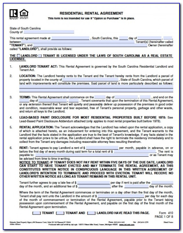 Free South Carolina Residential Rental Agreement Form 410