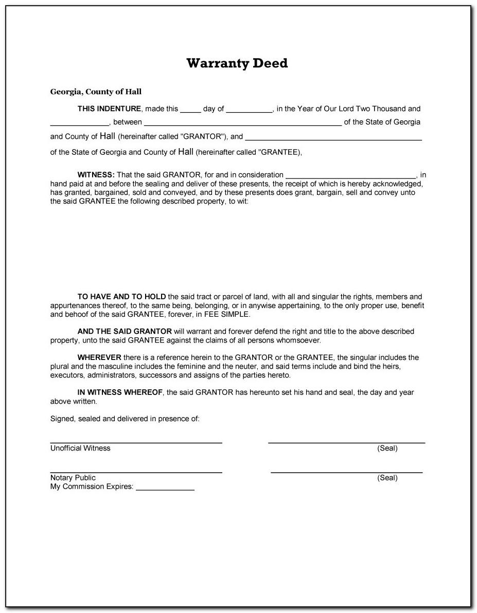 Free Special Warranty Deed Template