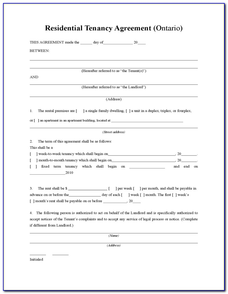 Free Tenancy Agreement Form Template