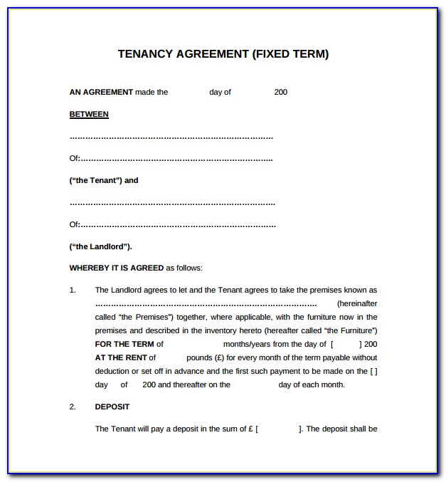 Free Tenancy Agreement Form Uk Pdf