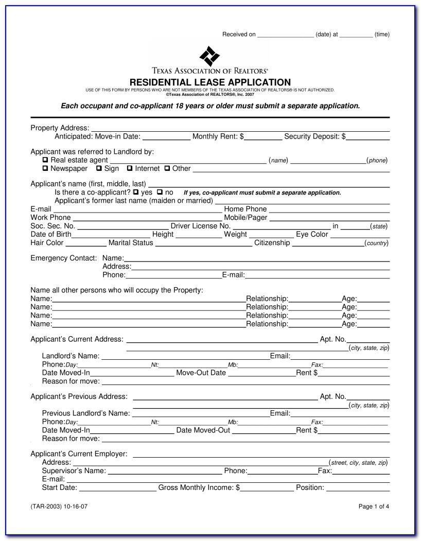 Free Texas Rental Agreement Form