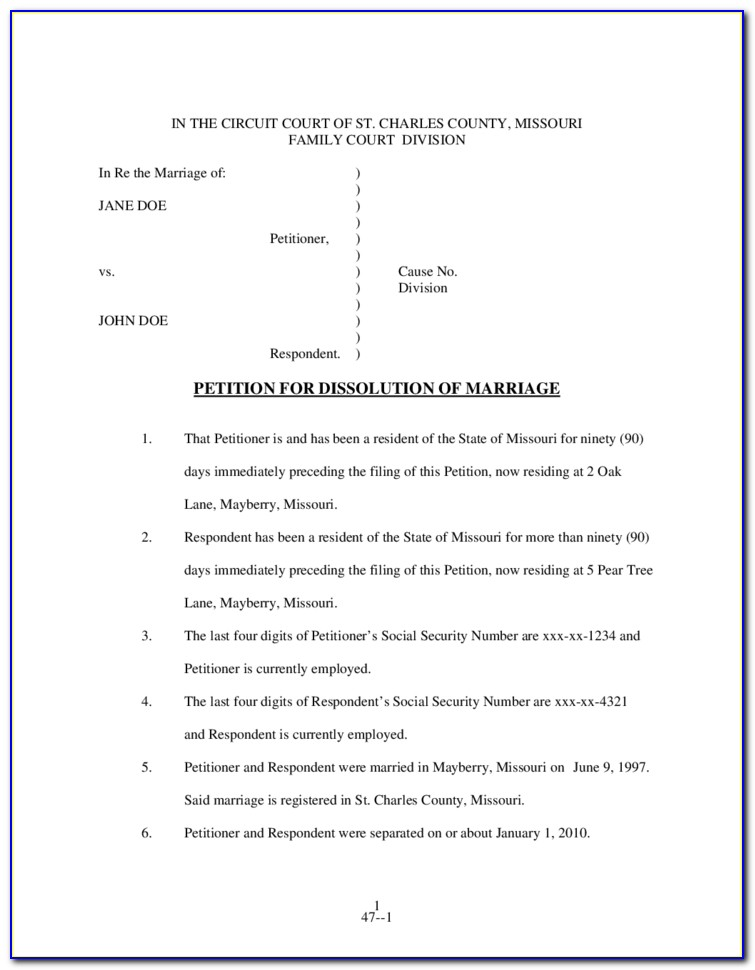 Free Uncontested Divorce Forms Missouri