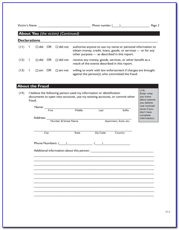 Ftc Identity Theft Report Form