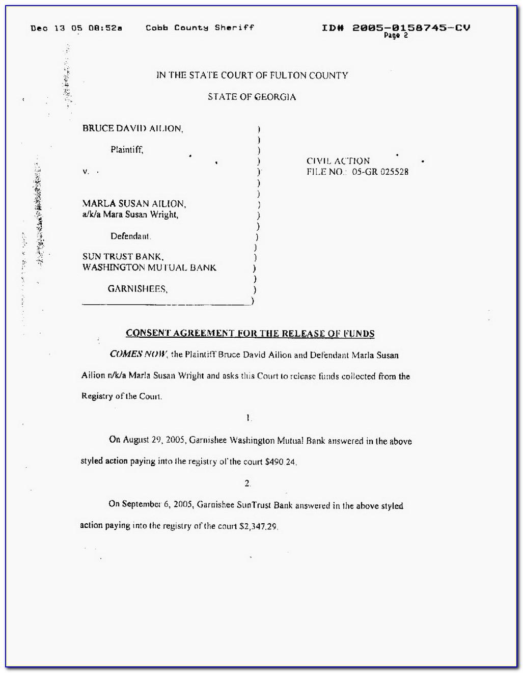 Fulton County Georgia Uncontested Divorce Form