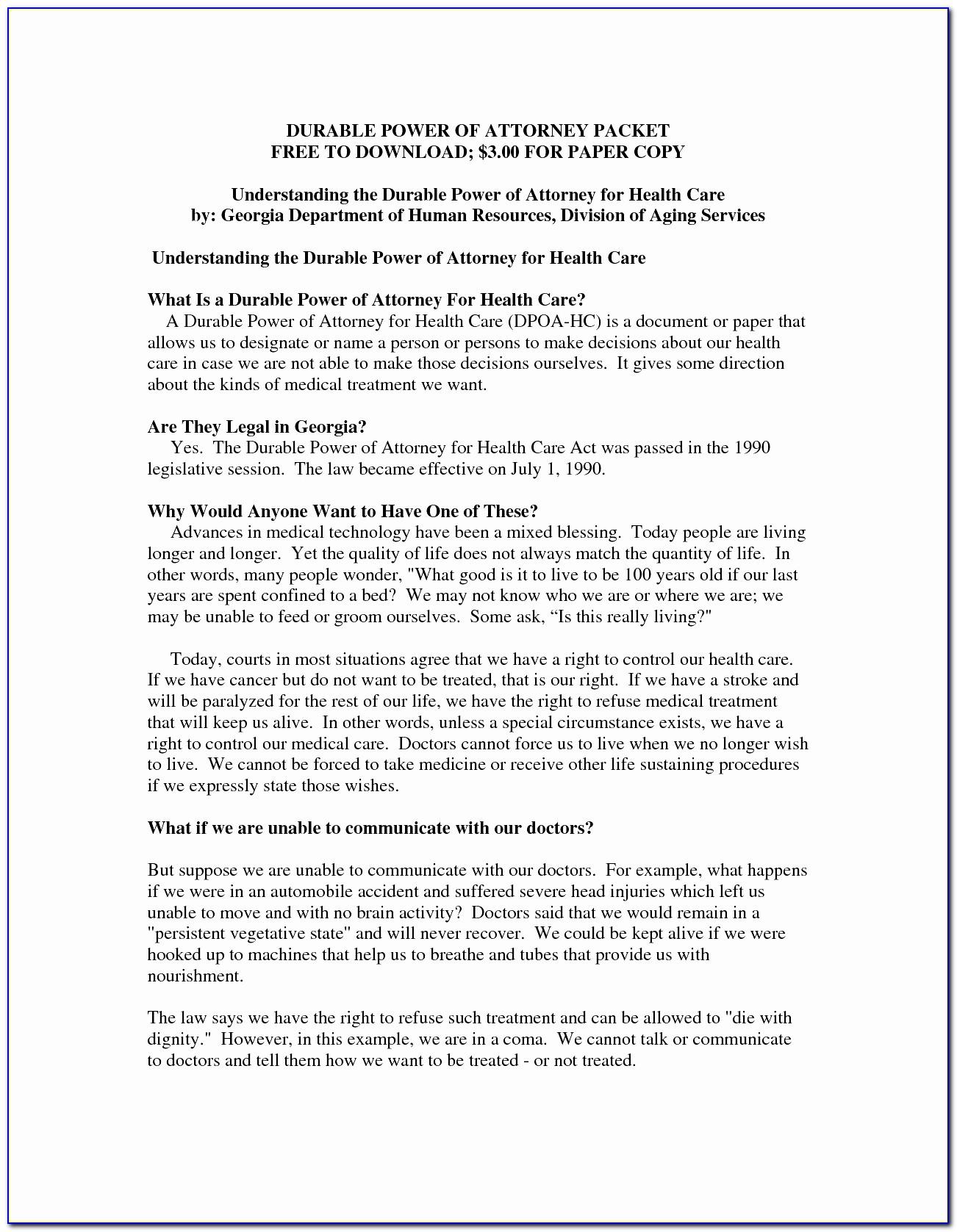 Georgia Health Care Power Of Attorney Form Inspirational Georgia Power Attorney Form Pdf Best General Power Attorney