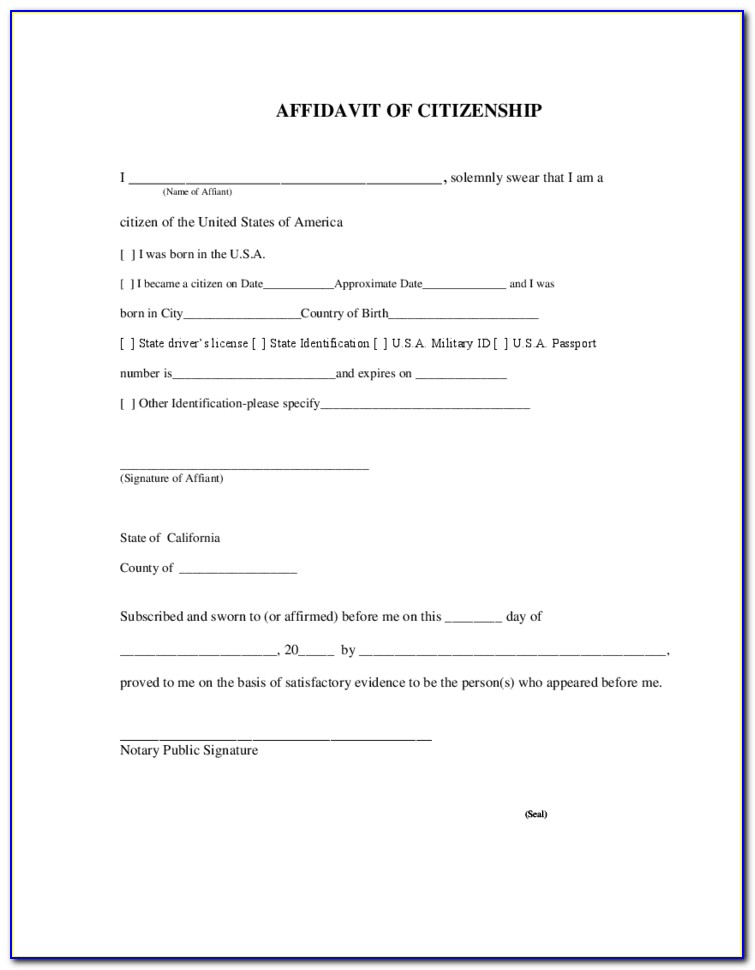 General Affidavit Form California Free