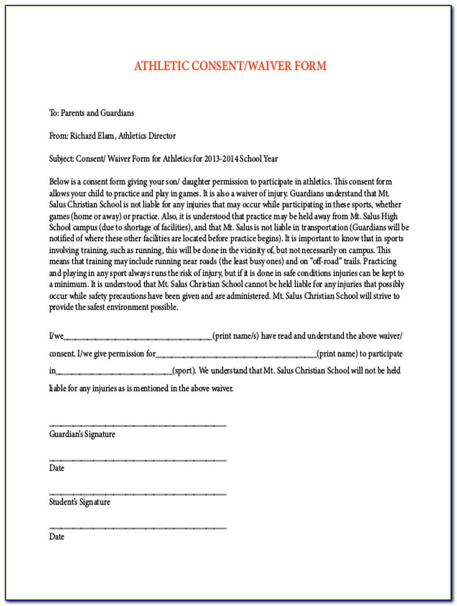 Generic Athletic Waiver Form
