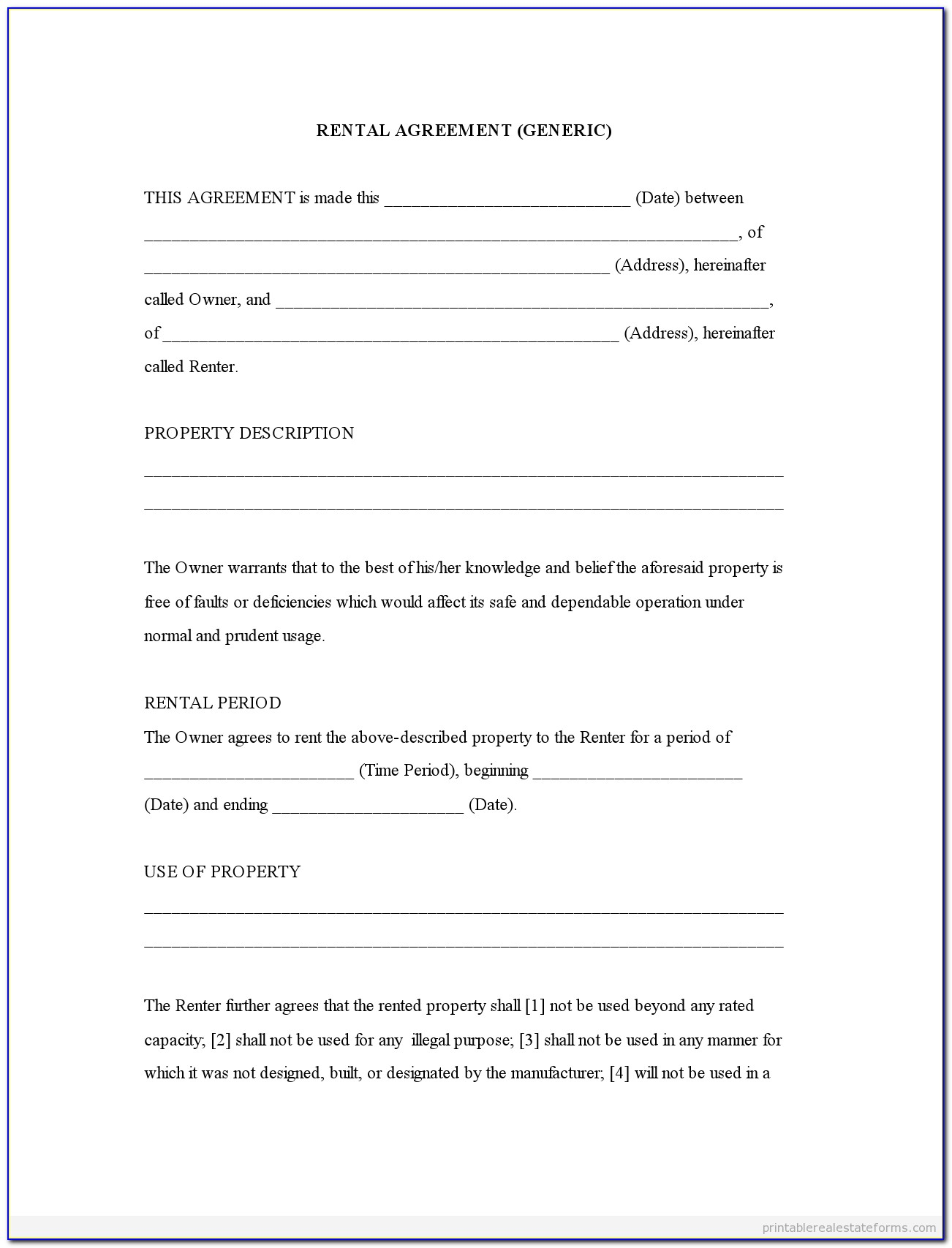 Generic Equipment Rental Agreement Form