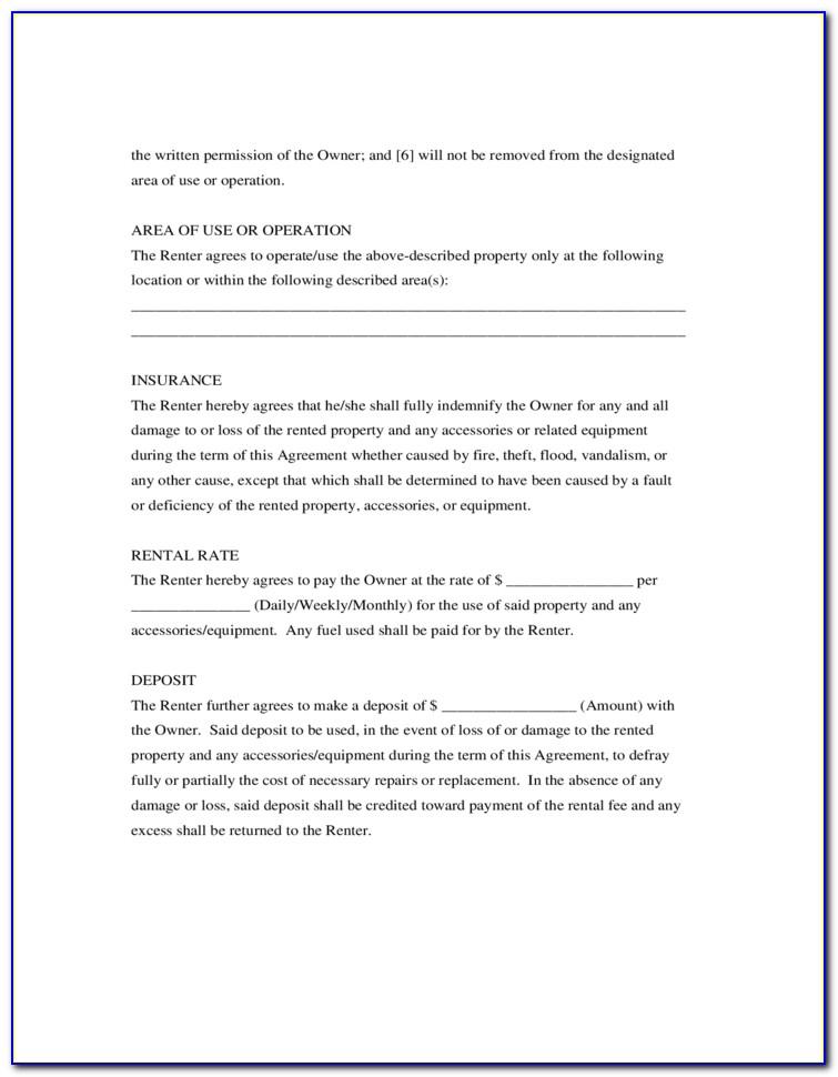Generic Room Rental Agreement Form