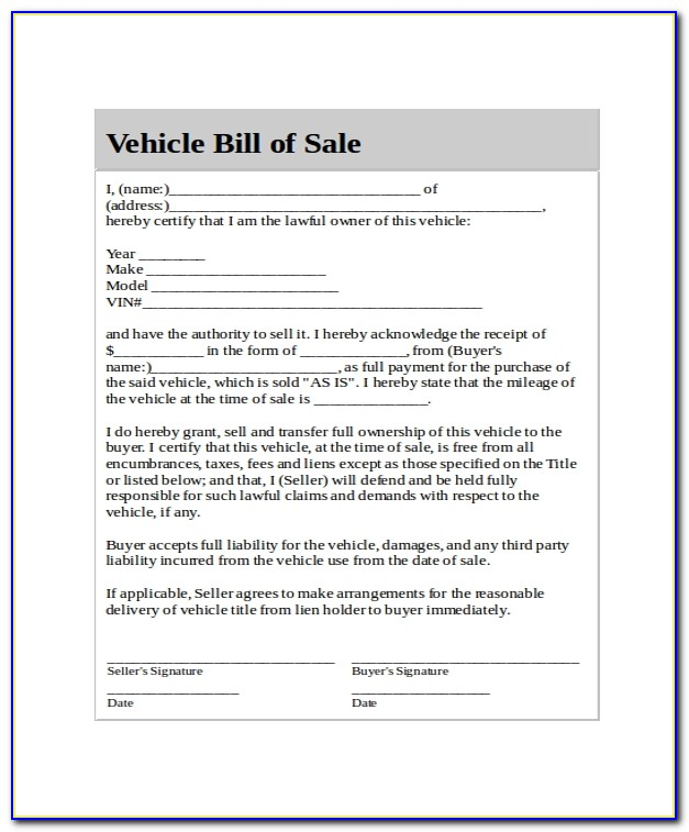 Generic Used Car Bill Of Sale Form