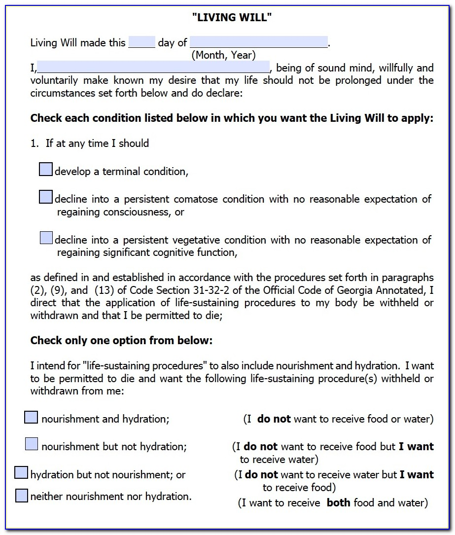 Georgia Advance Directive For Healthcare 2014 Form