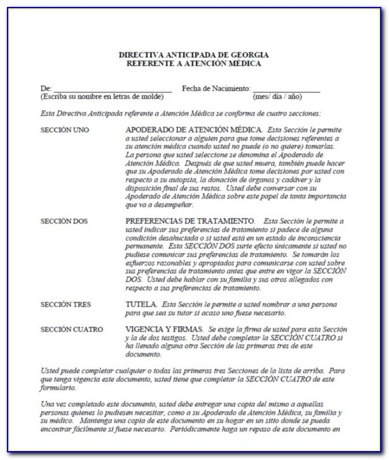 Georgia Advance Directive For Healthcare 2015 Form